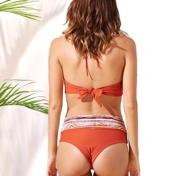 Poema Swim | High Waisted Bikini Bottom - Rust