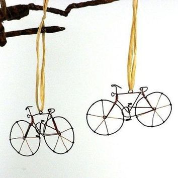 Set of 2- Fair Trade Wire Bicycle Ornaments