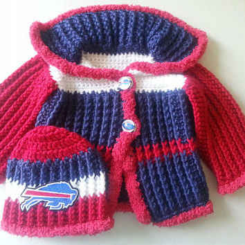 Buffalo Bills Baby Sweater and Hat Set Size 6 to 9 Months