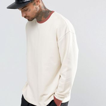 ASOS Oversized Sweatshirt With Contrast Ribs