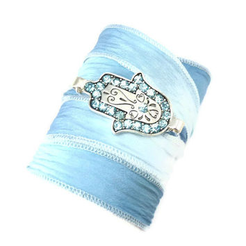 Silk Wrap Bracelet with Hamsa by charmeddesign1012 on Etsy