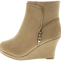 STELLA31 TAUPE ZIPPER SIDE WEDGE ANKLE BOOT