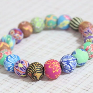 Handmade New Polymer Clay Beads Painted National Trend Fimo Stretch Bracelet for women