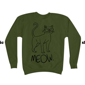 Cat Sweater | Meow Sweatshirt | Cute Kitty with Glasses