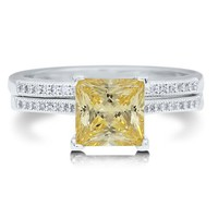 Sterling Silver 925 Princess Cut Canary Cubic Zirconia CZ 2pc Ring Set #r543