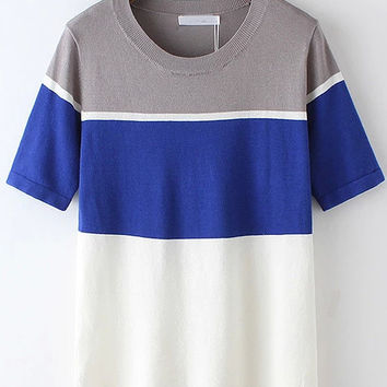 Color Block Short Sleeve Knitted Shirt in Multi Color