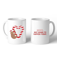 Sloth Heart Candy Cane  Mug Christmas Gift Idea Cute Ceramic Mugs