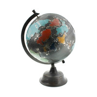 Circle the World Globe in Reclaimed Metal