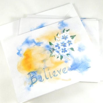 Believe inspirational art, blank cards, blank note cards, greeting cards, blank stationary, inspirational prints, blank greeting cards