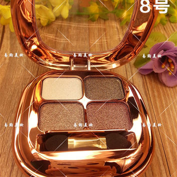 Diamond 4 Colors Baked Eye Shadow Powder Makeup Palette in Shimmer Metallic Glitter Cream Eyeshadow Palette
