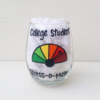 College Student hand-painted stemless wine glass
