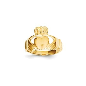 14k Yellow Gold Men's Claddagh Ring