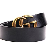 GUCCI Tide brand retro simple wild classic double G smooth buckle belt Black