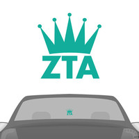 ZTA Zeta Tau Alpha Turquoise Crown Car Laptop Dorm Window Vinyl Sorority Decal Sticker