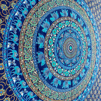 Twin Mandala Elephant Tapestry Hippie Wall Hanging Blue Mandala Bedspread Cover Throw Indian Gypsy Boho Ethnic Home Wall Decor-FREE SHIPPING