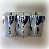 1950s RETRO ATOMIC KITCHEN Canisters / Kromex Mid Century Mod Vintage Set in Silver Chrome Stainless Steel / Lids Flour, Sugar, Coffee, Tea