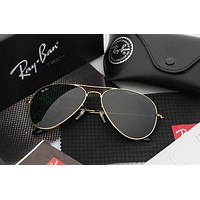 Ray-Ban Aviator Sunglasses Gold Green Mirrored RB 3025
