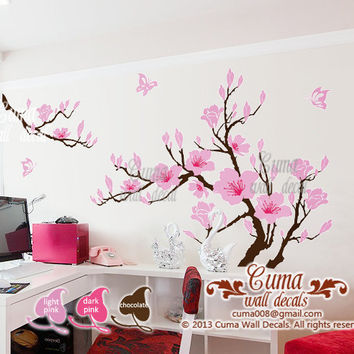 pink flower wall decals cherry blossom Vinyl wall decals tree office wedding wall murals Nursery wall sticker - Huge Magnolia Z180 cuma