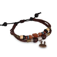 Fashion Plaza Lether Bracelet with Wood Beads and Rabbit Dangle Pendant L119.