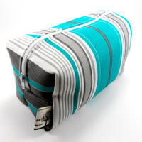 Aqua and White Stripe  Makeup Bag, Boxy Pouch, Cosmetic Bag, Zippered, Travel, For Her Under 10, Brown, Green, Tan, Striped,  Modern