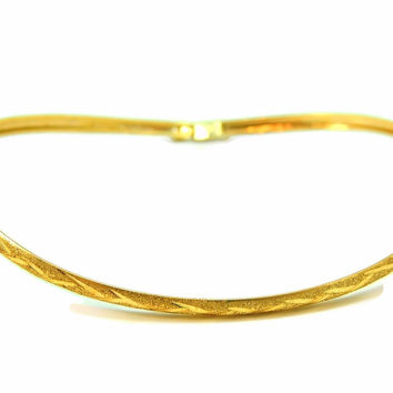Flexible Hinged Bangle Bracelet 10k Gold Etched Design Vintage