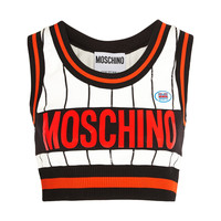 Moschino - Cropped printed stretch-jersey top