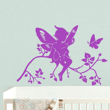 rvz633 Wall Decal Sticker Nursery Kids Baby Flowers Tree Magic Butterfly Boy