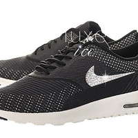 Nike Women's Air Max Thea Jacquard Limited EDITION w/Swarovski Elements - Dark Grey / Black-White-Metallic Silver