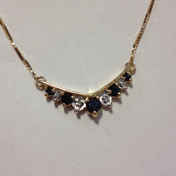 "Sapphire Diamond Necklace NIB 18K Sterling Silver 925 Blue Genuine 3 TCW Stones 16"" Gold Sparkly Vintage New Boxed Jewelry Bridal Prom Gift"