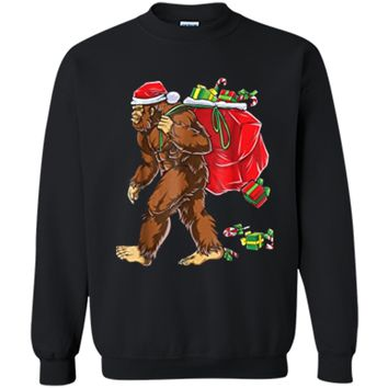 Bigfoot Santa Christmas Boys Men Sasquatch Xmas Gift Printed Crewneck Pullover Sweatshirt