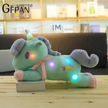 1PC 55cm Kawaii Toy Light Colorful Unicorn Plush Toy Stuffed Luminous Horse Home Furnishing Decoration Best Gifts For Boys&Girls