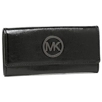 Michael Kors Fulton Flap Continental Wallet Patent Leather - Black