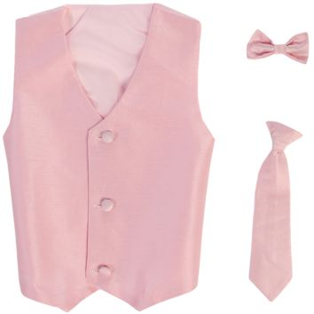 Pink Vest & Tie Set Poly Silk 2 Pc with Choice of Necktie or Bow Tie (Boys 3 months - size 14)