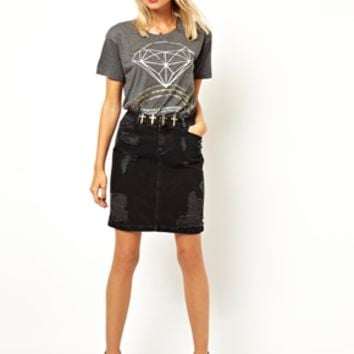ASOS Denim Skirt in Washed Black with Rips