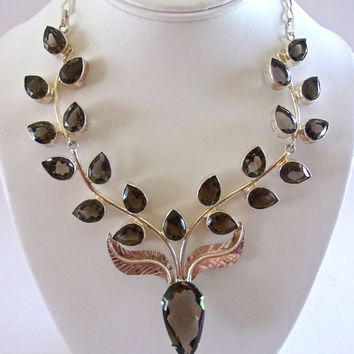 Smoky Quartz Leaves Sterling Silver Necklace, Floral Style, Vintage