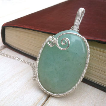 Amazonite Pendant - Wire Wrapped Handmade Jewellery - Wire Jewellery - Gemstone Jewellery