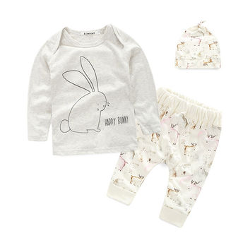Cotton 3PCS Infant Newborn Baby Boy Long Sleeve Tops Pants Hat Sets Clothes Outwear NW