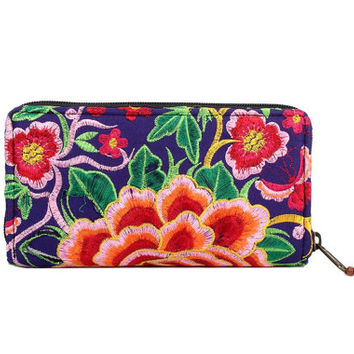 Flowers Wallet Clutch Embroidered Fabric Handmade Thailand (BG800W.80)