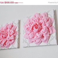 """MOTHERS DAY SALE Two Wall Flowers -Light Pink Dahlia Flowers on White, Taupe and Light Pink Damask Print 12 x12"""" Canvas Wall Art- Baby Nurse"""
