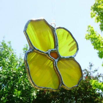 Stained Glass Sun Catcher Yellow Spring Flower