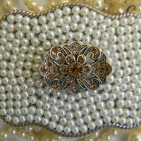 Pearl Rhinenestone Bronze Art Deco Belt Buckle Western Womens Belt Buckle