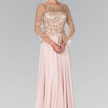Plus size evening gown with sleeves  gls 2096