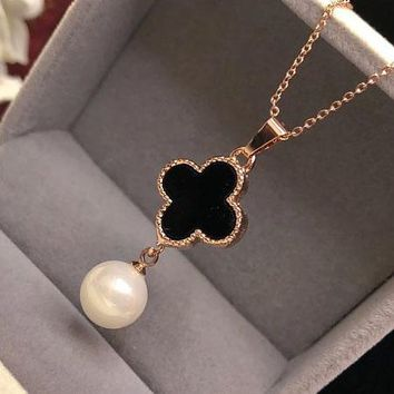 Cartier pearl pendant necklace new style Korean luxury fashion gold - plated clavicular chain hundred
