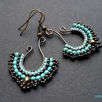 Fan earrings beadwoven on wire in turquoise and by MoonsafariBeads