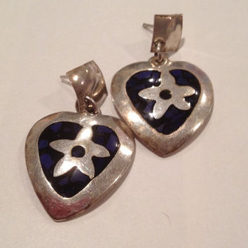 Taxco Lapis Sterling Heart Earrings Star Onyx 925 Silver Mexico Mexican Vintage Southwestern Jewelry Christmas Birthday Gift