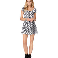 Aeropostale Womens Kitties Skater Dress - Black,