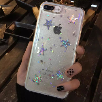 Shining Bling Powder Glitter Star Case For iphone 7 Case Lovely Cartoon Cover Fashion Soft Phone Cases For iphne7 6 6S Plus -0405