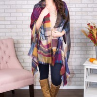 Pocket Poncho Scarf - Jewel Tone