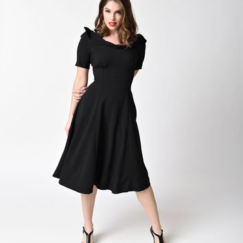 Hell Bunny Black Short Sleeved Crepe Bianca Swing Dress