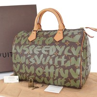 Authentic LOUIS VUITTON Graffiti Speedy 30 Monogram Boston Hand Bag Purse #25567